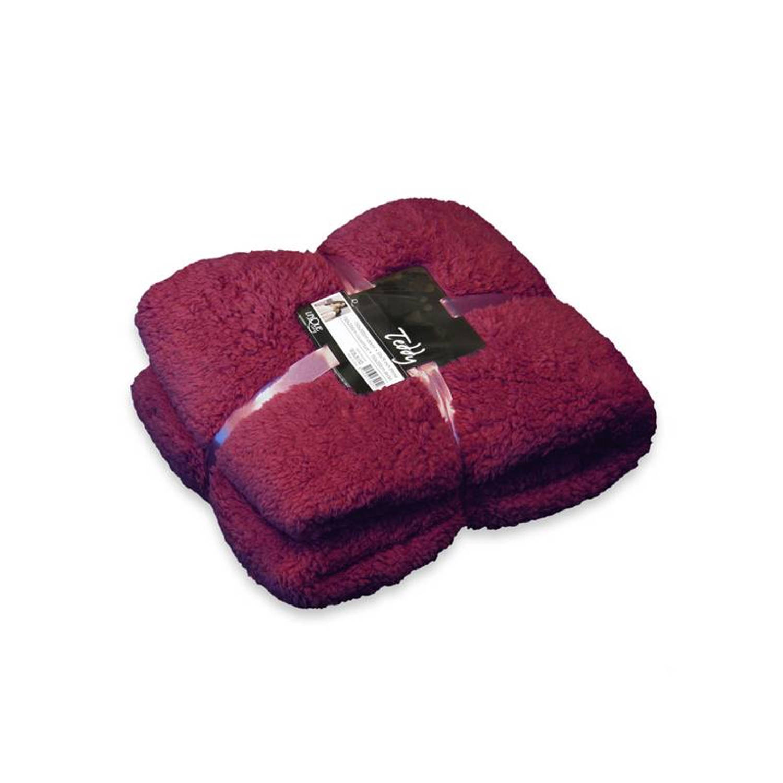 Unique Living Teddy fleece plaid - 100% polyester, Fleece polyester - 150x200 cm - Rood