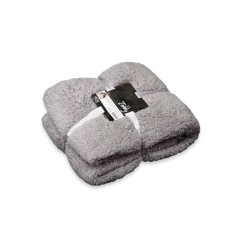 Unique Living Teddy fleece plaid - 100% polyester, Fleece polyester - 150x200 cm - Grijs