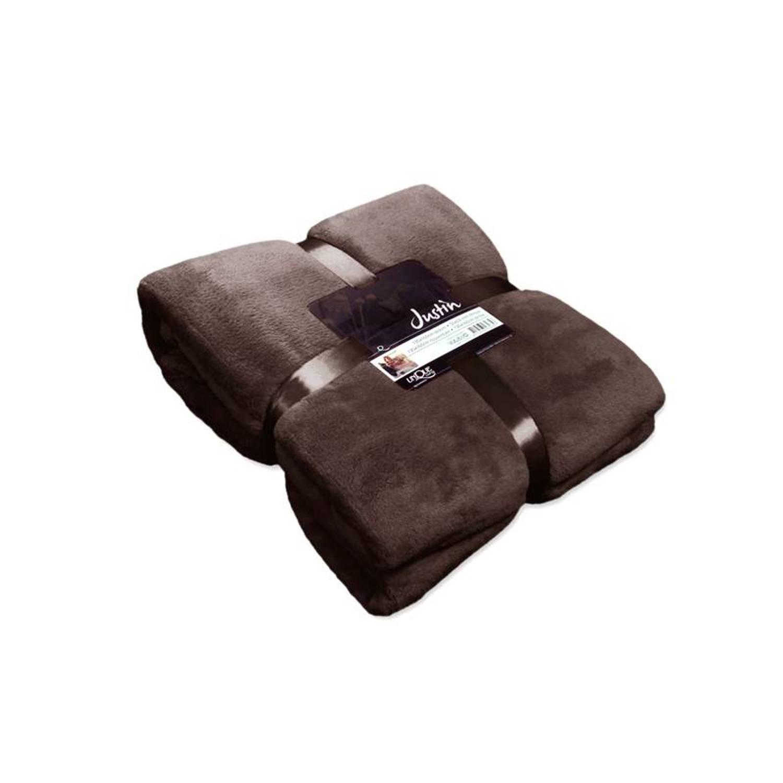 Unique Living Justin fleece plaid - 100% polyester, Fleece polyester - 150x200 cm - Bruin