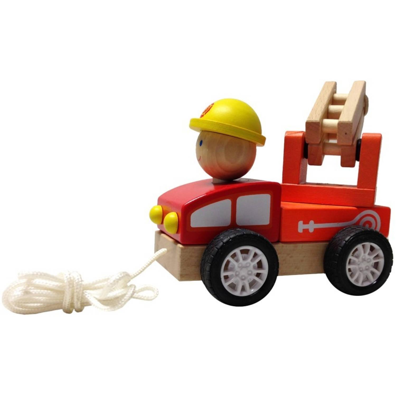 BuToys Houten Trekautootje - Brandweer