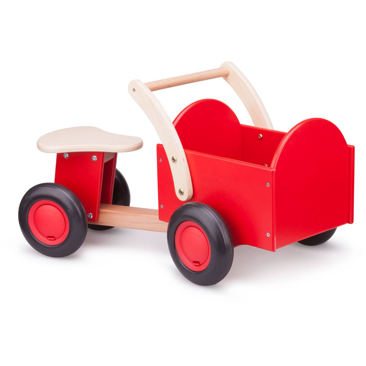 Bakfiets New Classic Toys: Rood-blank 37x63x28 Cm