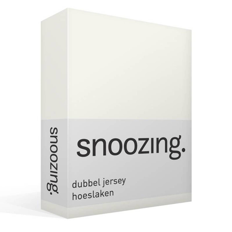 Snoozing dubbel jersey hoeslaken - 100% dubbel gebreide katoen - Lits-jumeaux (160x200/220 cm) - Ivoor
