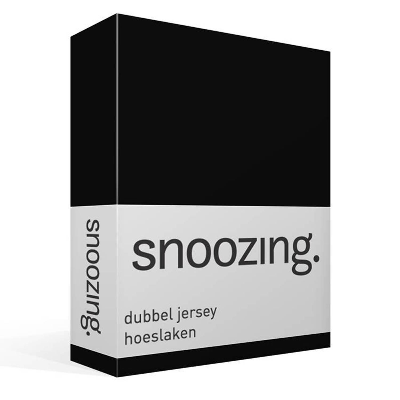 Snoozing dubbel jersey hoeslaken - 100% dubbel gebreide katoen - 1-persoons (80/90x200 cm) - Zwart