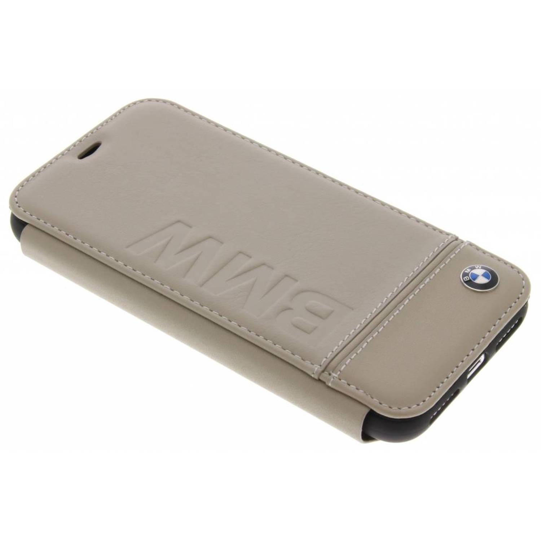Beige Real Leather Booktype Case voor de iPhone Xs / X