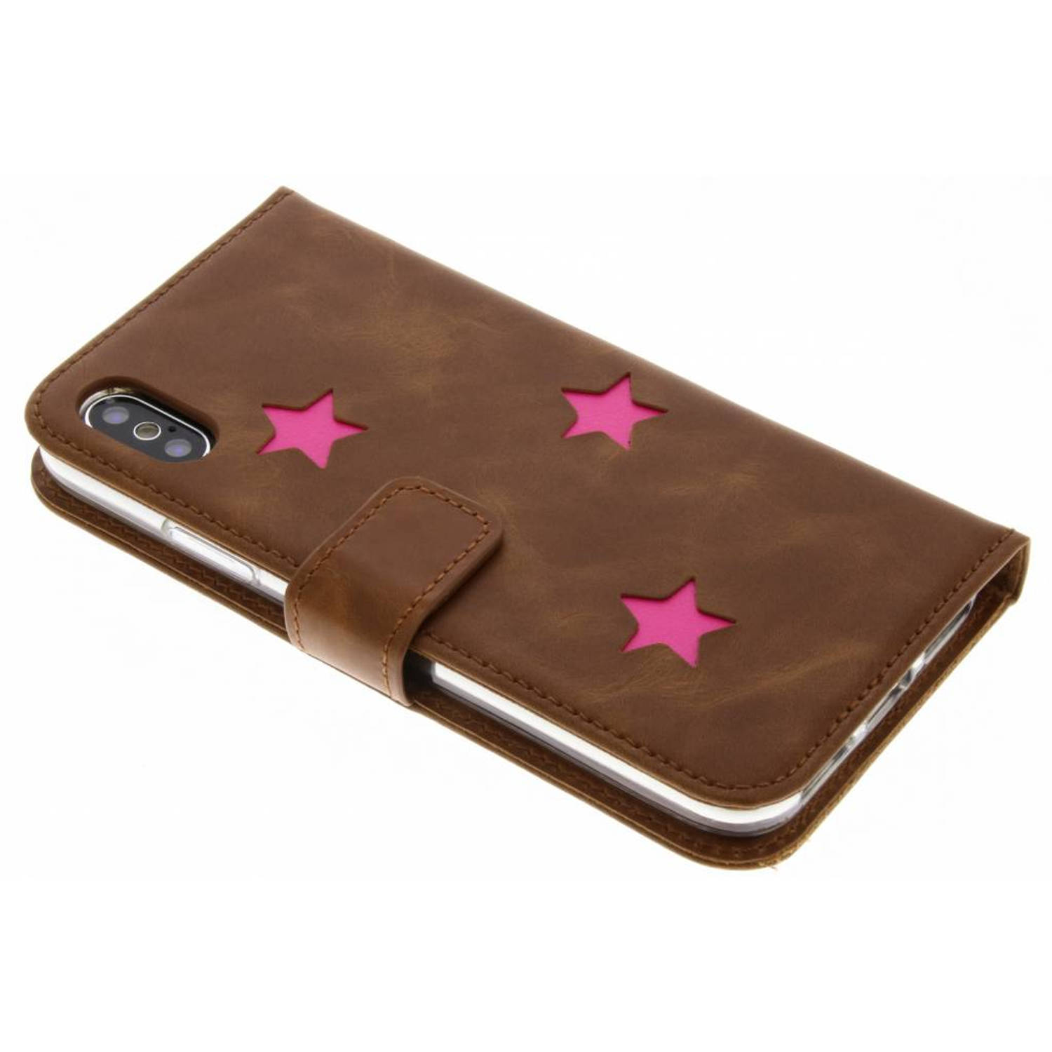 Roze Reversed Star Booktype hoes voor de iPhone Xs / X