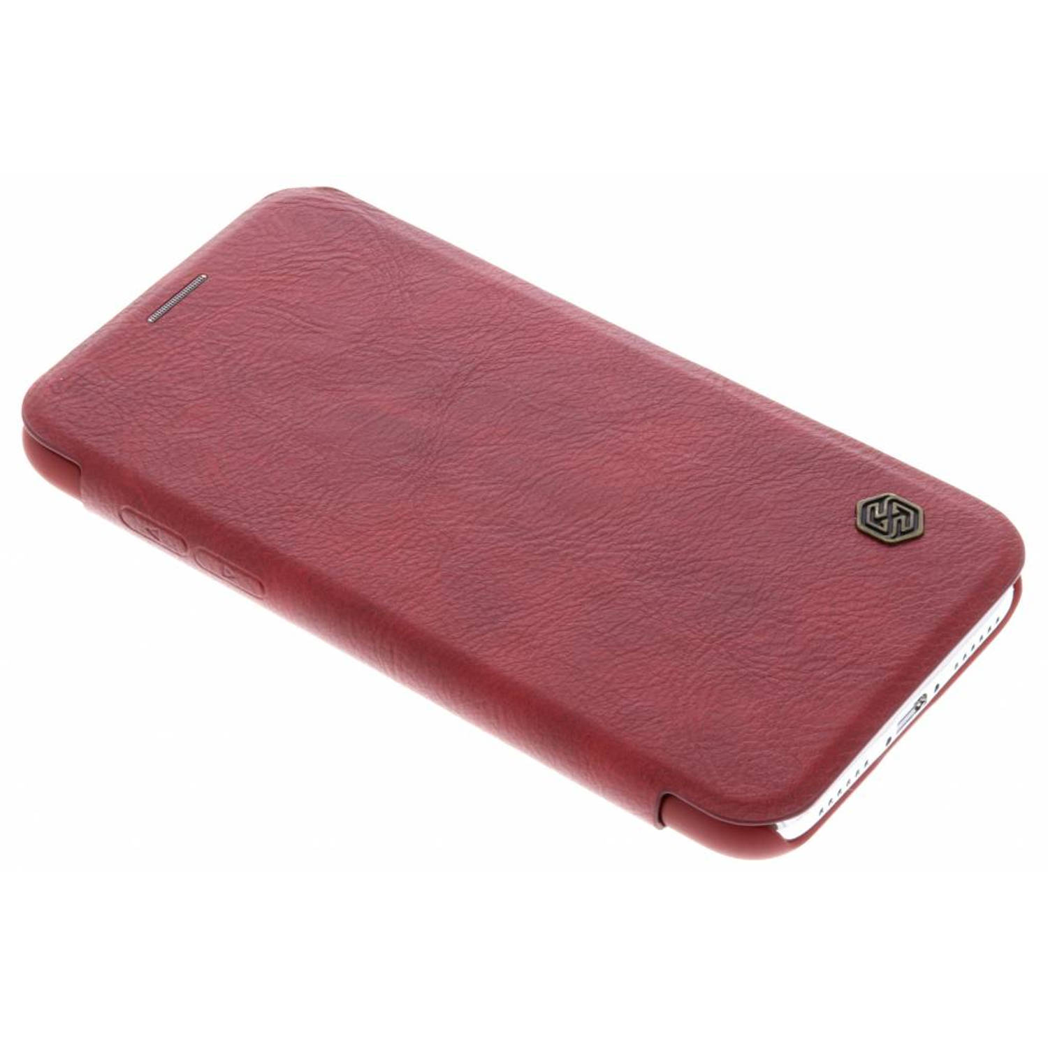 Rode Qin Leather slim booktype hoes voor de iPhone Xs / X