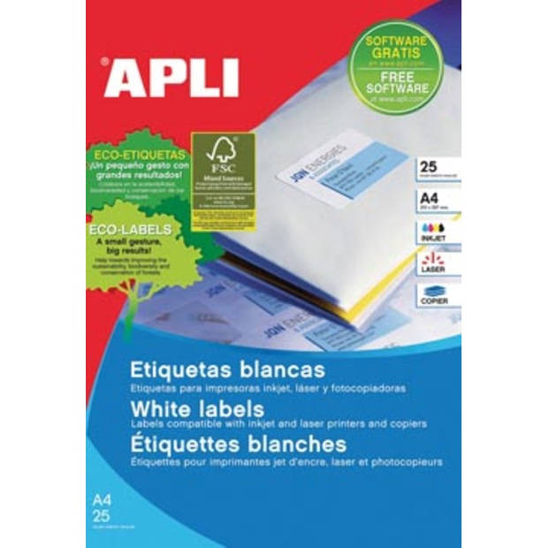 Apli afneembare witte etiketten ft 35,6 x 16,9 mm (b x h), 2.000 stuks, 80 per blad etui van 25 blad