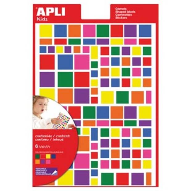 Apli Kids verwijderbare stickers, vierkant, blister met 756 stuks in geassorteerde kleuren en groottes