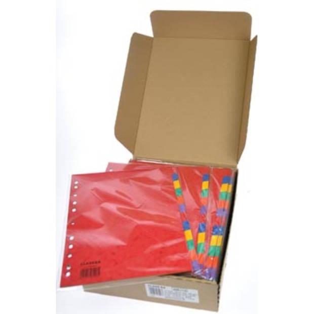 Class'ex tabbladen 12 tabs, ft A4, 11-gaatsperforatie, karton, geassorteerde kleuren