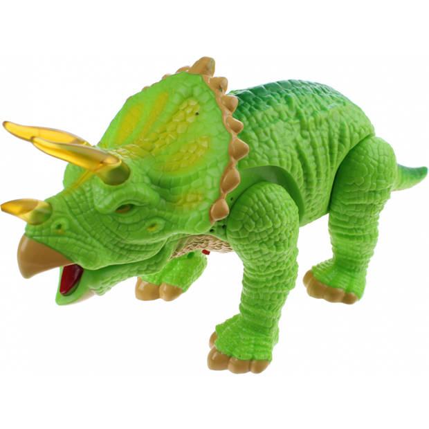 Jonotoys Triceratops met licht en geluid lichtgroen 33 cm
