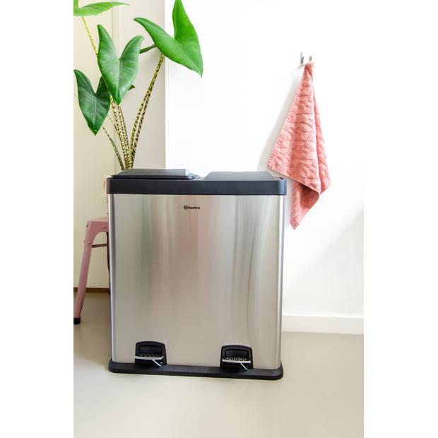 Homra NEVIQ pedaal afvalemmer 2×30 liter met afvalscheiding