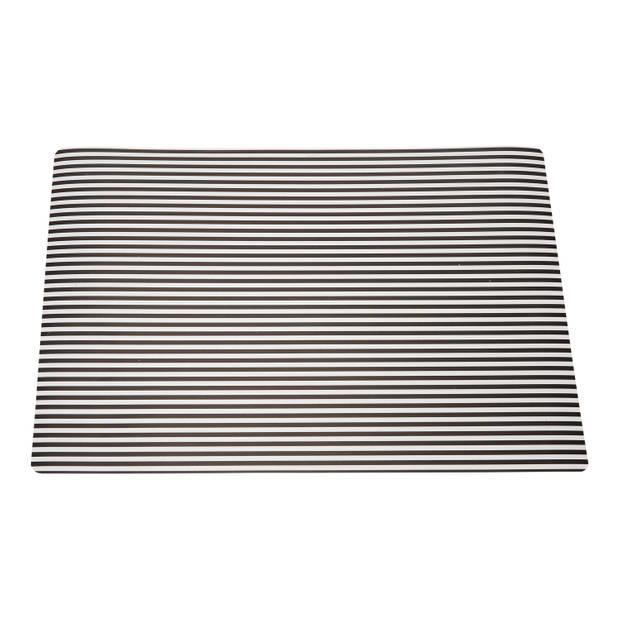 Blokker placemat met strepen - zwart - 30 x 43 cm
