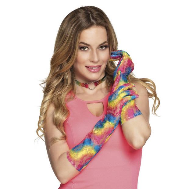 Boland ellebooghandschoenen Fusion rainbow dames multicolor