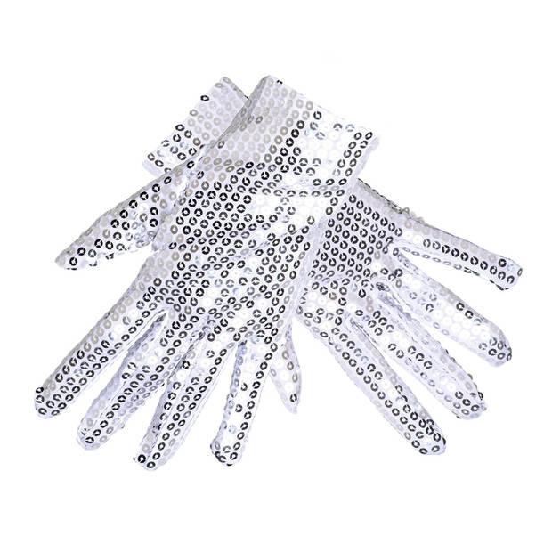 Boland Handschoenen Sequins unisex zilver