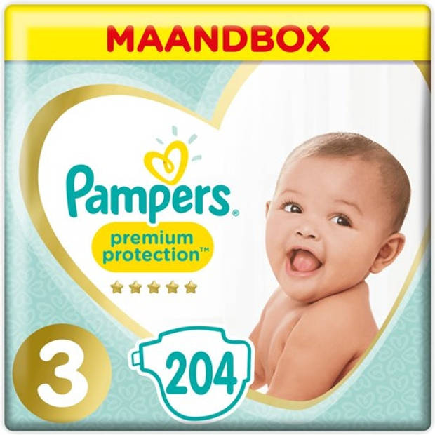 Pampers Premium Protection Maat 3 - 204 Luiers Maandbox