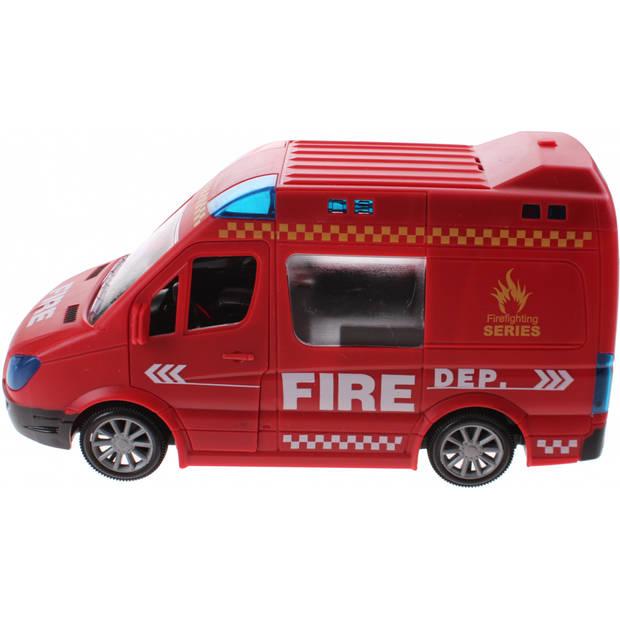 Jonotoys brandweerbus met licht en geluid rood 21 cm
