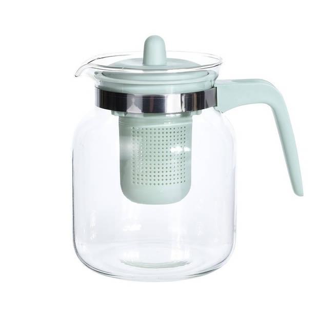 Glazen theepot met groen filter