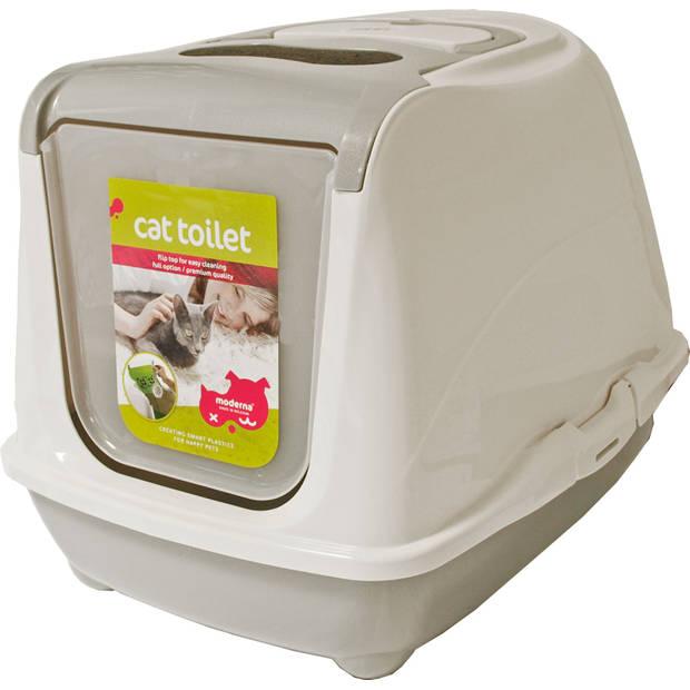 Kat toilet flipcat med lichtgrijs
