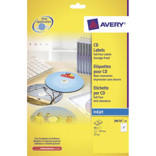 CD etiket Avery 117mm fullsize wit 25 vel 2 etiketten per vel