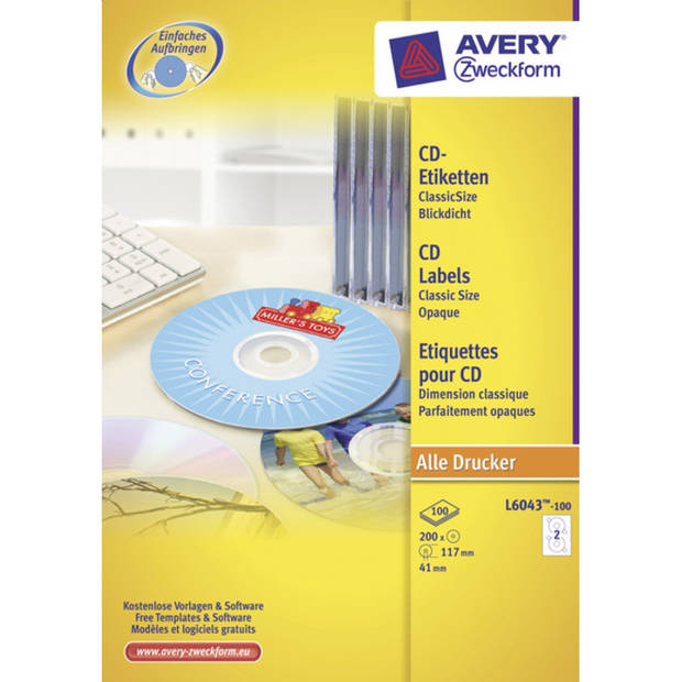 CD etiket Avery 117mm classic size 100 vel 2 etiketten per vel wit
