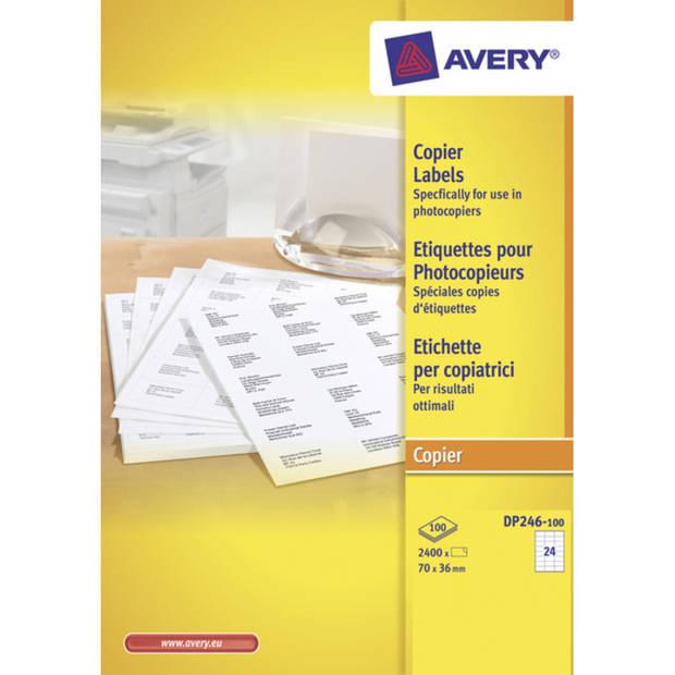 kopieeretiket Avery 70x36mm 100 vel 24 etiketten per vel wit