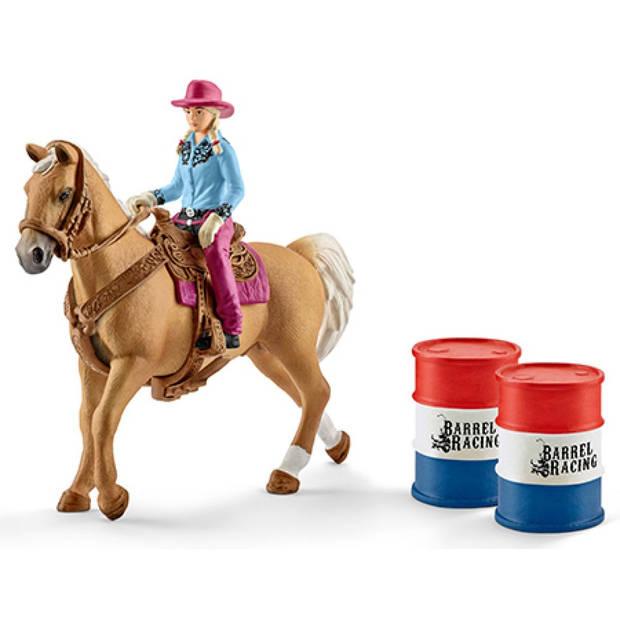 Barrel racing met cowgirl Schleich