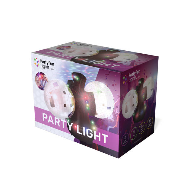 PartyFunLights Discolamp - Dubbele Spiegelbol - Roterend - 32 Gekleurde LED's