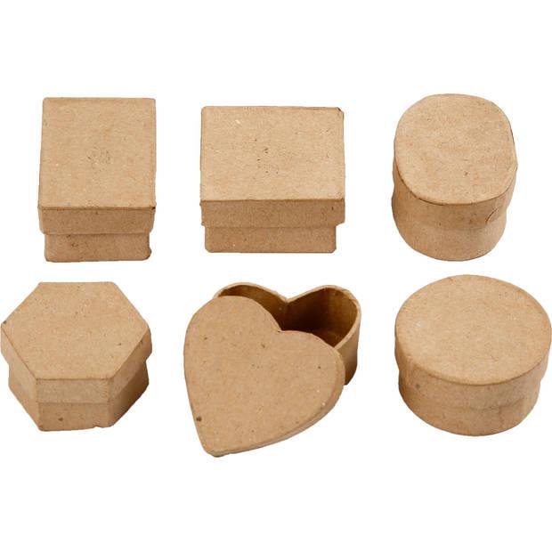 Papier mache Creotime mini doosjes 6 stuks 5x3 cm