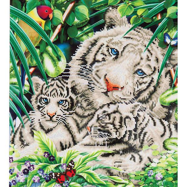 White Tiger en Cubs Diamond Dotz - 52x52 cm - Diamond Painting