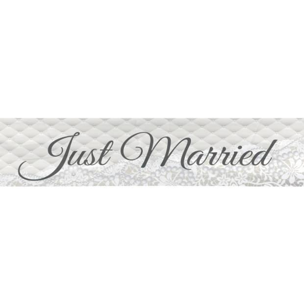 Just Married bruiloft versiering banner 360 cm - Feestdecoratievoorwerp