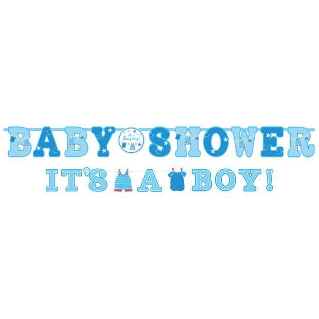 Amscan babyshower slingers 'it's a boy!' 256 en 182 cm 2 stuks blauw