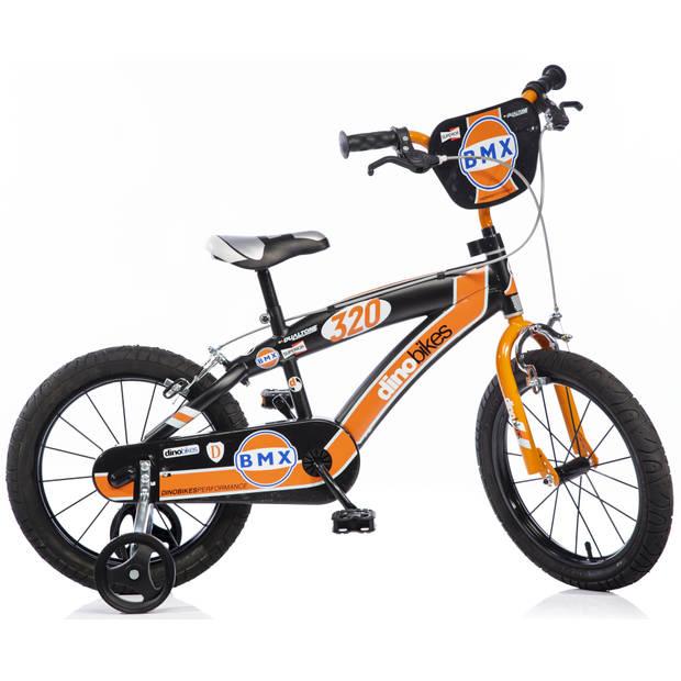 Kinderfiets Dino Bikes BMX black-orange 16 inch