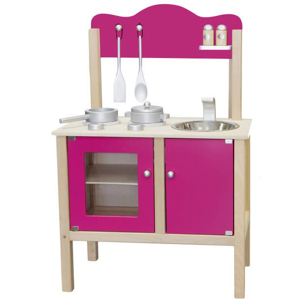 Keukentje hout roze