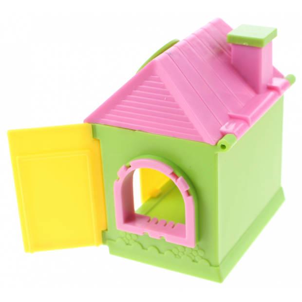 Jonotoys speelhuisje Minishop 7 cm meisjes groen/geel 5-delig