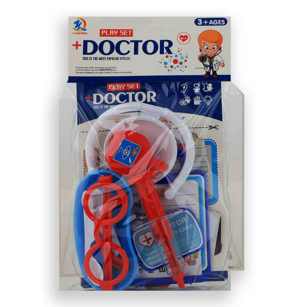 Jonotoys doktersset Doctor+ blauw/rood 10-delig