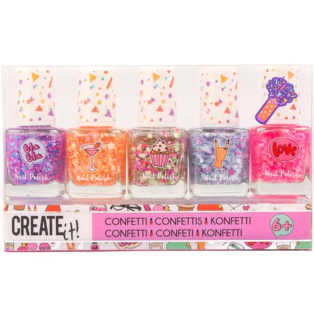 Nagellak Create It confetti 5-delig