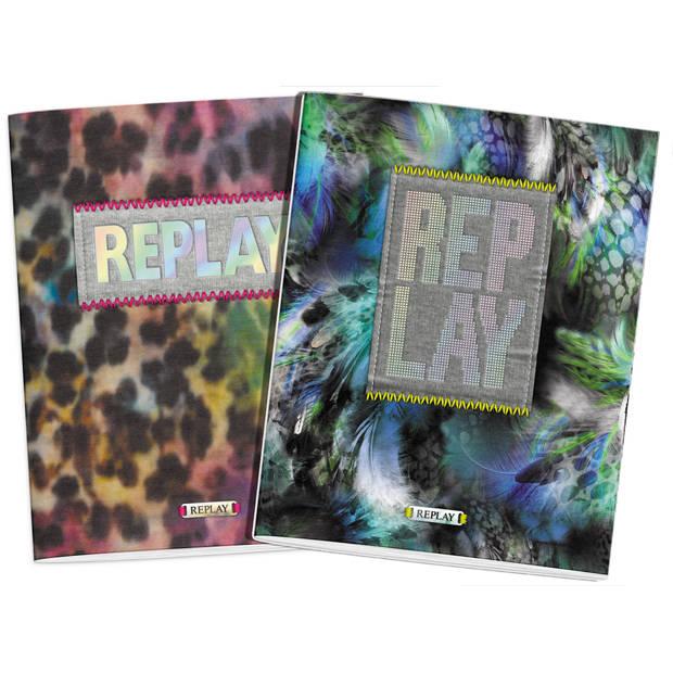 Schrift Replay Girls 3-pack A5 gelijnd - Schoolschrift Stationery Team Replay