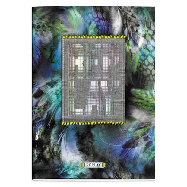 Schrift Replay Girls peacock A4 gelijnd