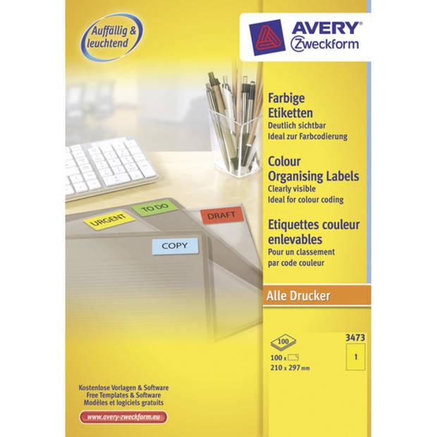 etiket Avery ILK 210x297mm 100 vel 1 etiket per vel geel