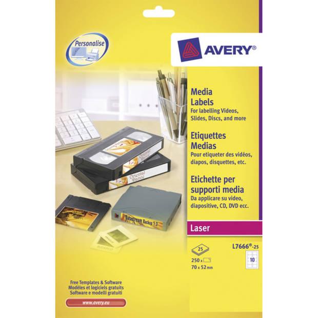 laseretiket Avery 70x52mm wit 25 vel 10 etiketten per vel