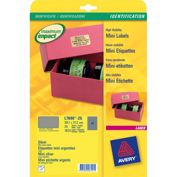 laseretiket Avery 38,1x21,2mm zilver 25 vel 65 etiketten per vel