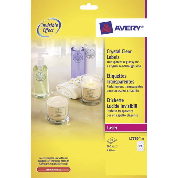 laseretiket Avery rond 40mm transp. 25 vel 24 etiketten per vel
