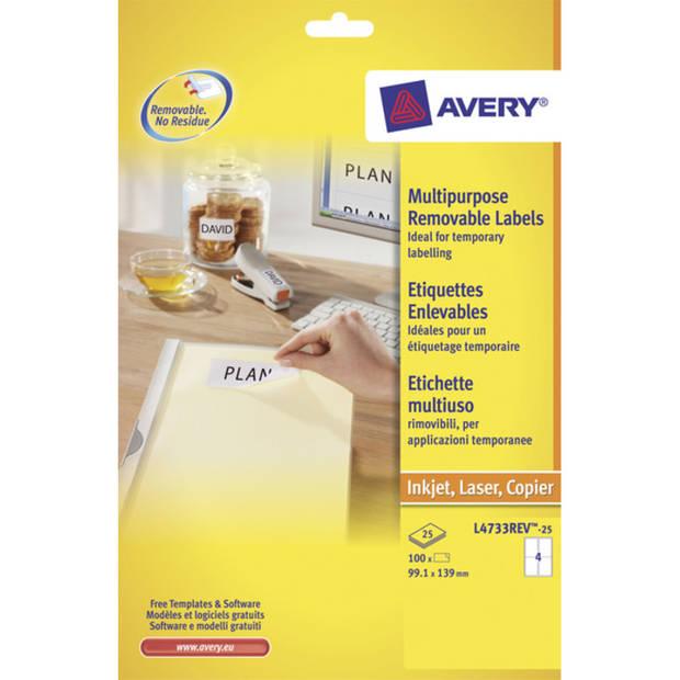 etiket Avery ILK 99,1x139mm wit NP 25 vel 4 etiketten per vel