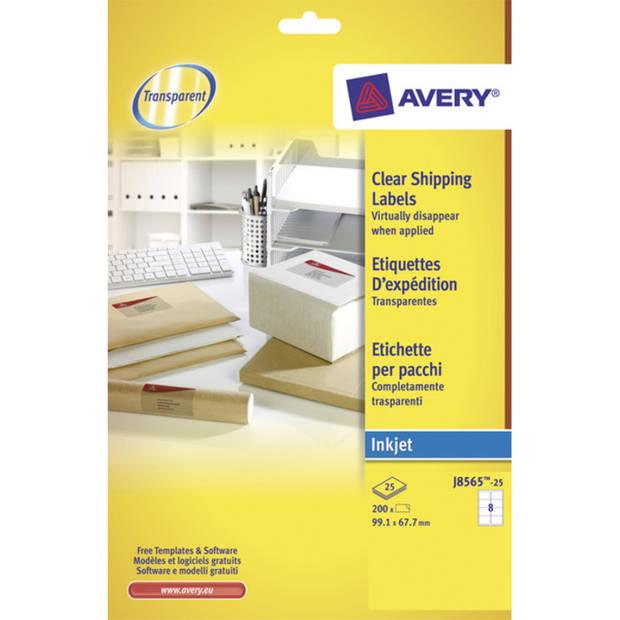 adresetiket Avery 99,1x67,7mm transparant 25 vel 8 etiketten per vel