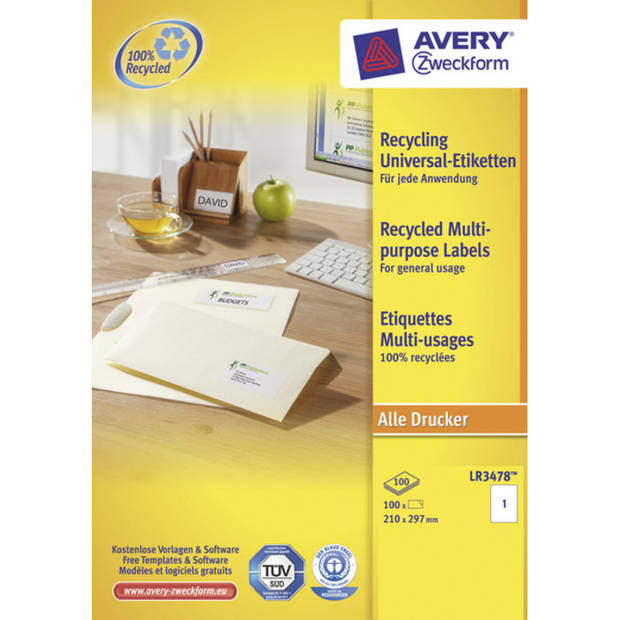etiket Avery ILK 210x297mm recycled 100 vel 1 etiketten per vel wit