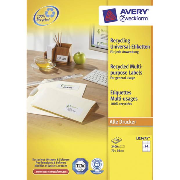 etiket Avery ILK 70x36mm recycled 100 vel 24 etiketten per vel wit