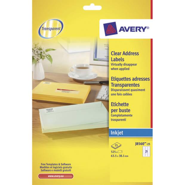 adresetiket Avery 63,5x38,1mm transparant 25 vel 21 etiketten per vel