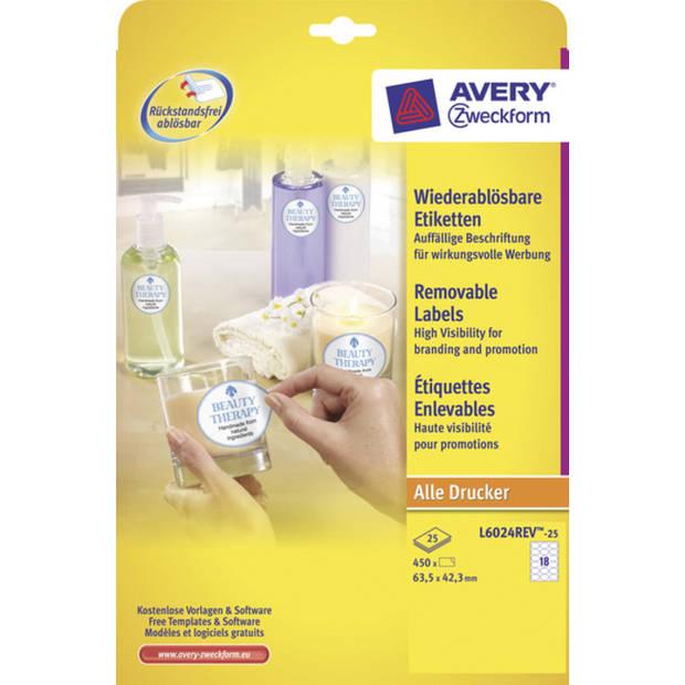 etiket Avery ILK 63,5x42,3mm NP 25 vel 18 etiketten per vel wit