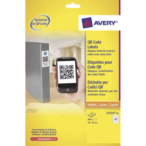 produktetiket Avery 45x45mm wit 25 vel 20 etiketten per vel