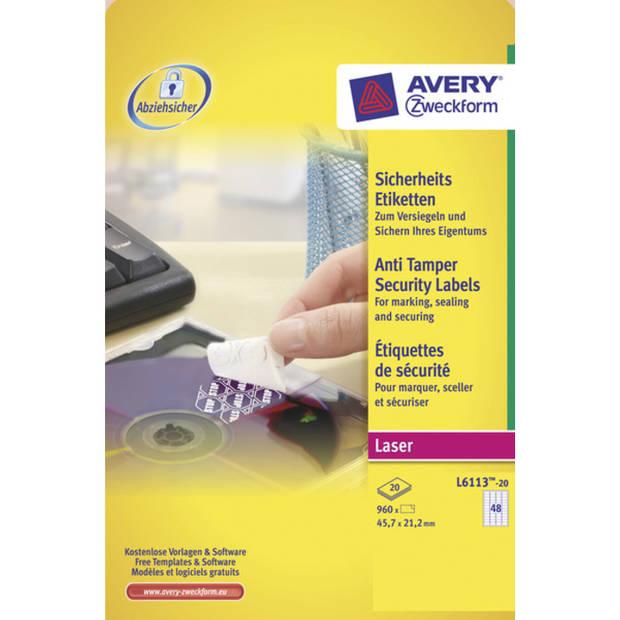 veiligheidsetiket Avery 45,7x21,2mm wit 20vel 48 etiketten per vel